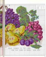This Pin was discovered by Gyö Cross Stitch Fruit, Cross Stitch Kitchen, Cross Stitch Rose, Cross Stitch Flowers, Cross Stitch Charts, Cross Stitch Patterns, Cross Stitching, Cross Stitch Embroidery, Hand Embroidery