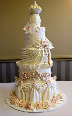 Ivory , gold and blush pink wedding cake with draping and pearls by The Vagabond Baker. Extravagant Wedding Cakes, Elegant Wedding Cakes, Beautiful Wedding Cakes, Gorgeous Cakes, Wedding Cake Designs, Pretty Cakes, Cute Cakes, Amazing Cakes, Elegant Cakes