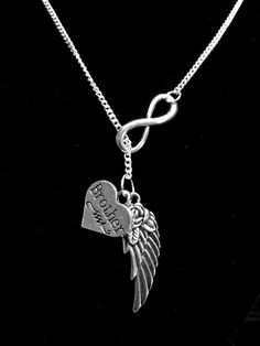 Infinity Guardian Angel Wing Brother In Heaven Memory Y Lariat Necklace