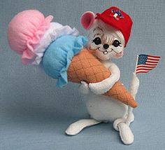 """Annalee 6"""" Ice Cream Mouse  Annalee Doll Description: Open eyes, open mouth, white hair and body, red cap with American flag print star, holds large ice cream cone and American flag. www.suecoffee.com"""