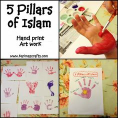 Karimas Crafts: 5 Pillars of Islam Crafts - 30 Days of Ramadan Crafts - again, something both the 8 year old and the 2 year old can do together! Eid Crafts, Ramadan Crafts, Ramadan Decorations, Eid Activities, Activities For 2 Year Olds, 5 Pillars, Pillars Of Islam, Decoraciones Ramadan, Islamic Celebrations