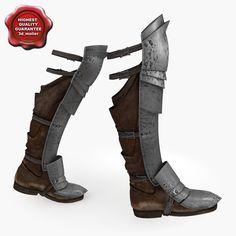 Modèle 3d de bottes d'armures médiévales v3
