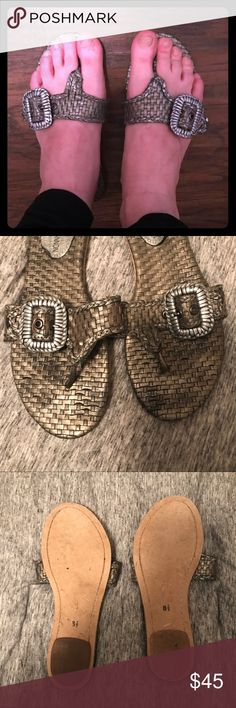 Michael Shannon Flip Flops Lightly used, gorgeous silvery bronze flip flops! If they were my size I'd totally keep them! Michael Shannon Shoes Sandals