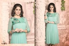 Superb Designer Ready to Wear Georgette Kurti with linning  in Light Blue color with beautiful Thread Embroidery .  Available in S,M,L, XL size.