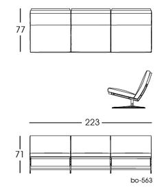 bo-563 Sofa, 3 persons 2D | Fabricius & Kastholm for bo-ex furniture. http://www.bo-ex.dk/project/bo-562/