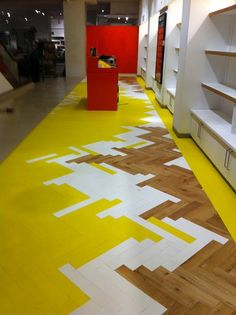 look like if we put in one of these wild, outrageously vibrant parquet patterns instead. Colored parquet has been trending for a