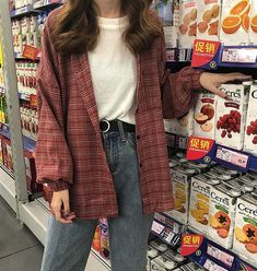 2019 New Woman Vent Vintage Plaid Shirt Single Breasted Turn down Collar Cotton Long Sleeve Button Feminina Sales Retro Outfits, Vintage Outfits, Indie Outfits, Tumblr Outfits, Cute Casual Outfits, Korean Outfits, Fashion Outfits, Grunge Outfits, Grunge Clothes