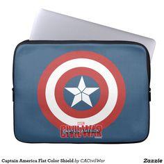 Captain America Flat Color Shield Laptop Sleeves. Regalos, Gifts. #fundas #sleeves