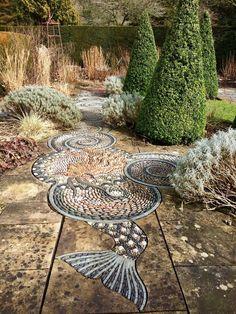 Pebble Mosaic Garden Paving At Gresgarth Hall, Lancashire – Susan Rushton T… - Modern Garden Paving, Garden Paths, Concrete Garden, Landscaping With Rocks, Backyard Landscaping, Landscaping Ideas, Pebble Mosaic, Mosaic Pots, Mosaic Garden Art