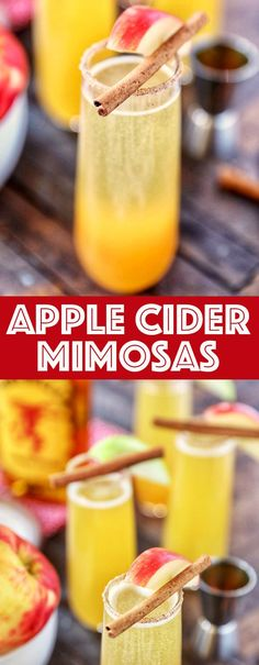 Apple Cider Mimosas - Apple cider cinnamon whisky and champagne with a cinnamon sugar rim. The perfect easy cocktails for the holidays! Easy Cocktails, Fun Drinks, Cocktail Recipes, Prosecco Cocktails, Holiday Drinks, Alcoholic Beverages, Cold Drinks, Gin Fizz, Easy Homemade Recipes