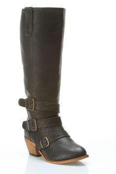 Black Buckle Detail Boots