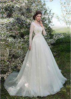 Glamorous Organza Bateau Neckline A-line Wedding Dress With Lace Appliques