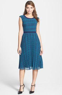 Halogen® Print Sunburst Pleat Dress | Nordstrom