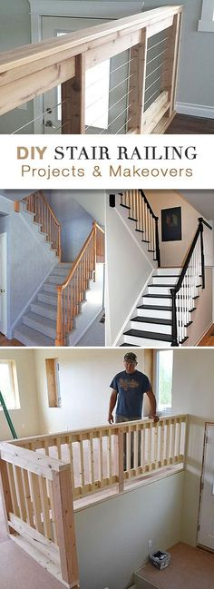 DIY Stair Railing Projects & Makeovers • Big variety of ideas, makeovers and tutorials of different style stair railings!