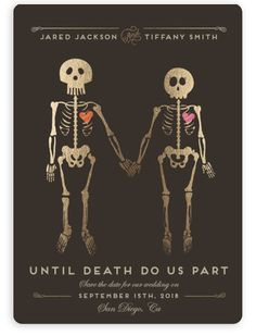 """""""Until Death"""" - Whimsical & Funny Save The Date Magnets in Golden by Katie Zimpel."""
