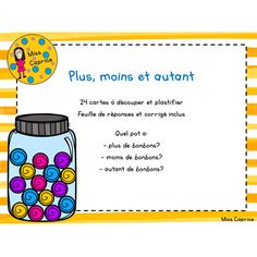 Plus, moins et autant - 1re année Tools For Teaching, Teaching Math, Math Classroom, Kindergarten Math, Fun Math, Math Activities, Daily Math, French School, Primary Maths