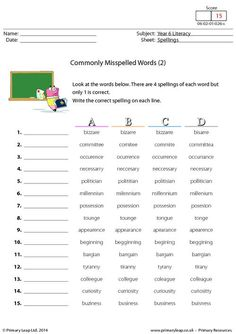 Worksheets Commonly Misspelled Words Worksheet commonly misspelled words worksheet learning and worksheets primaryleap co uk 2 worksheet