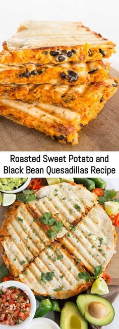 Roasted Sweet Potato and Black Bean Quesadillas are the best vegetarian quesadillas you'll ever taste. So easy to make and most importantly incredibly delicious and filling! Roasted Sweet Potato and Black Bean Quesadillas Recipe Black Bean Quesadilla, Sweet Potato Quesadilla, Chicken Quesadillas, Yummy Quesadillas, Vegetarian Quesadilla, Quesadilla Recipes, Vegetarian Recipes, Cooking Recipes, Healthy Recipes