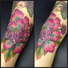 Japanese peony flower tattoo