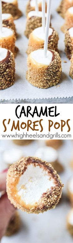 The best DIY projects & DIY ideas and tutorials: sewing, paper craft, DIY. DDIY Food & Recipe For Party Caramel S'mores Pops - These are so easy to throw together and taste incredible! Mini Desserts, Fall Desserts, Just Desserts, Delicious Desserts, Yummy Food, Oreo Cake Pops, Cookie Pops, Fall Recipes, Sweet Recipes