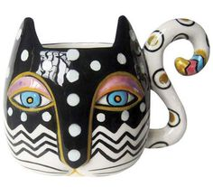 Zig Zag Cat Collectors Coffee Tea Mug 12 OZ. 26022 Laurel Burch #WestlandGiftware