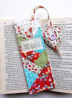 Quilted Patchwork Bookmark  Fabric Bookmark  by RebeccaAndRobin