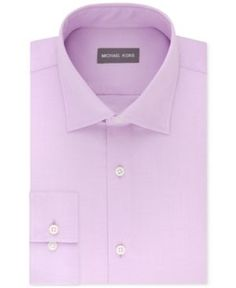 Michael Kors Men's Regular Fit Airsoft Stretch Non-Iron Performance Solid Dress Shirt - Pink 14.5 32/33