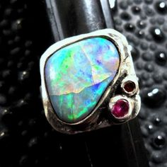 Black Opal and Sapphire Ring