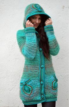"Kabátik ""Azur Dream"" / Zboží prodejce Artika | Fler.cz Pull Crochet, Crochet Coat, Crochet Cardigan, Crochet Shawl, Crochet Clothes, Crochet Jacket Pattern, Crochet Poncho Patterns, Baby Hats Knitting, Knitted Hats"