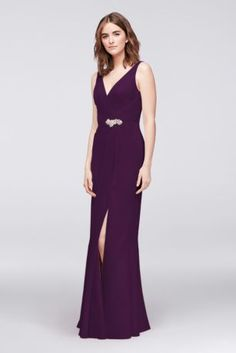 040efce886e7a Faux-Wrap Chiffon Gown with Crystal Detail JP2917172 Chiffon Gown