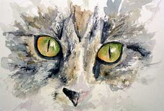 A short step-by-demo demo painting a cat's eyes in watercolor by Barbara at the Wet Canvas forum