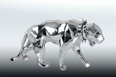 RICHARD ORLINSKI Wild neck panther chrome Sculpture. Résine chromée. Dimensions: 110 x 75 x 37 cm - Drouot Patrimoine - 06/12/2014