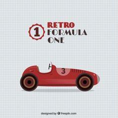 Retro Formula One Car Free Vector 2nd Birthday Boys, Race Car Birthday, Race Car Party, Birthday Themes For Boys, Race Cars, Race Racing, Sport Cars, Auto Cartoon, Race Car Bedroom