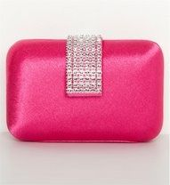 Hot Pink Crystal Clasp Satin Clutch <3<3