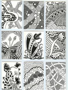 zentangle inspired art (could use this idea to create a pattern - Zentangle - More doodle ideas - Zentangle - doodle - doodling - zentangle patterns. zentangle inspired - #zentangle #doodling #zentanglepatterns