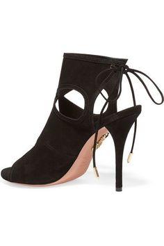 Aquazzura - Sexy Thing Cutout Suede Sandals - Black - IT39.5