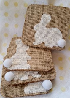 Primitive Burlap Bunny Rabbit Coasters by TheEmbroideryBunny