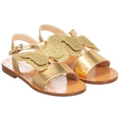 Girls metallic gold sandals from Gucci, with a glitter gold butterfly motif. They have a buckle strap and a leather inner sole, with a leather outer sole and non-slip rubber pads. Little Girl Shoes, Cute Baby Shoes, Baby Girl Shoes, Kid Shoes, Girls Shoes, Toddler Sandals, Kids Sandals, Toddler Boy Fashion, Baby Girl Fashion