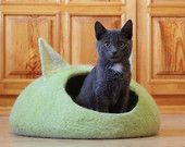Cat bed - cat cave - cat house - eco-friendly handmade felted wool cat bed - lime / apple green and natural white - made to order