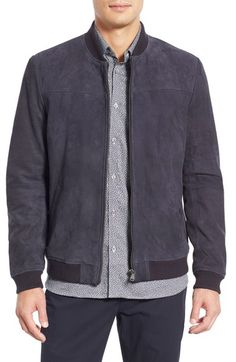 'Vipers' Suede Bomber Jacket, Navy