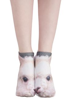 Llama Palooza Socks. The first item in your suitcase for this weekend's trip? #white #modcloth