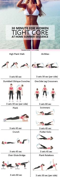 Tight your core with these exercises. Be fit and strong. Home and gym workout.
