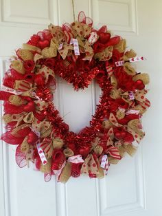 Deco mesh Valentine wreath.