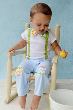 Baby Boy Easter Bow Tie Bodysuit with Suspenders and Matching Knee Patch Pants - Easter, Spring, Baby Boy on Etsy, $36.00