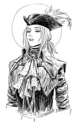 Inktober Day a sketch of Lady Maria. Dark Souls, Soul Saga, Blood Hunter, Character Art, Character Design, Bloodborne Art, Old Blood, Female Armor, Resident Evil
