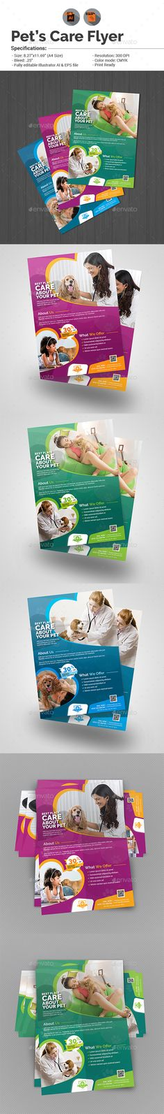 Pet Care Flyer Template  — EPS Template #veterinarians #health • Download ➝ https://graphicriver.net/item/pet-care-flyer-template/18380579?ref=pxcr