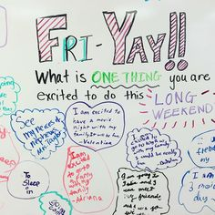 Yahoo for long weekends! It's Fri Yay! Here's what my students are excited to do this weekend! My favorite is the one who is excited to sleep in! Classroom Board, Future Classroom, School Classroom, Classroom Activities, Journal Topics, Journal Prompts, Journals, Morning Activities, Daily Writing Prompts