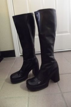 90s Tall Black Platform Boots Size by ThriftyTrends on Etsy, $40.00