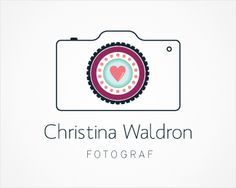 Christina Waldron FOTOGRAF Logo design - A logo that's suitable for a female wedding and portrait photographer.Keeping the most fundamental equipment of photography i.e. a camera at the center of this mark, I have then given it a feminine touch with the use of a soft color palette and some very simple patterns such as dots and circles. A heart at the center of the lens signifies memories and special moments that a wedding/portrait photographer captures. Price $500.00