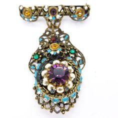 Vintage Ornate Czech Filigree Painted Floral Rainbow Paste Brooch   Clarice Jewellery   Vintage Costume Jewellery